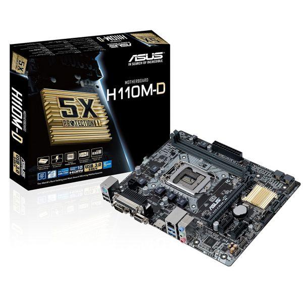TARJETA MADRE ASUS H110M-D DDR4 HDMI / DVI-D / USB 3.0 1151 CAJA