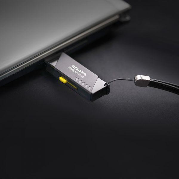 MEMORIA FLASH ADATA UV230 64GB USB 2.0 NEGRO PC-MAC AUV230-64G-RBK