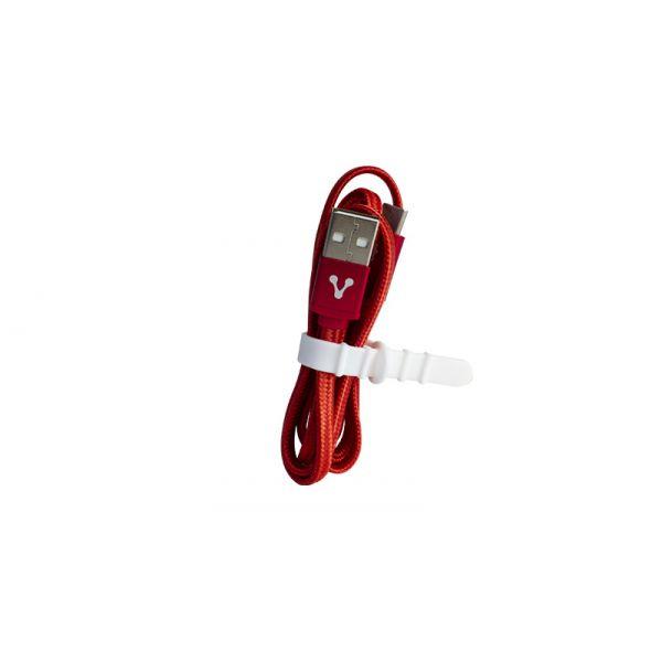 CABLE USB TIPO C VORAGO CAB-123 CARGA RAPIDA 1M ROJO