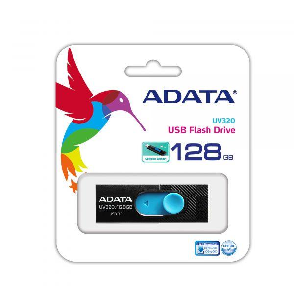 MEMORIA FLASH ADATA UV320 128GB USB3.1 NEGRO/AZUL AUV320-128G-RBKBL