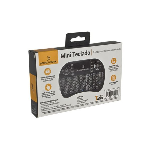 MINI TECLADO INALAMBRICO UNIV CON MOUSE PAD PERFECT CHOICE PC-201007