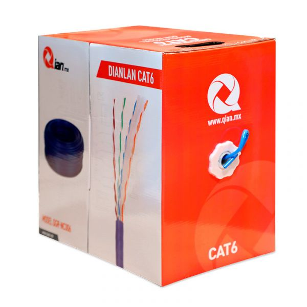 BOBINA CABLE UTP CAT6 QIAN QGR-NC006 AZUL 305 MTS