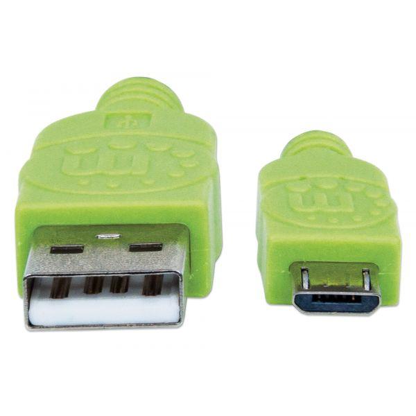 CABLE USB MANHATTAN TEXTIL VERDE/NEGRO USB A MICRO USB 1 METRO 352772