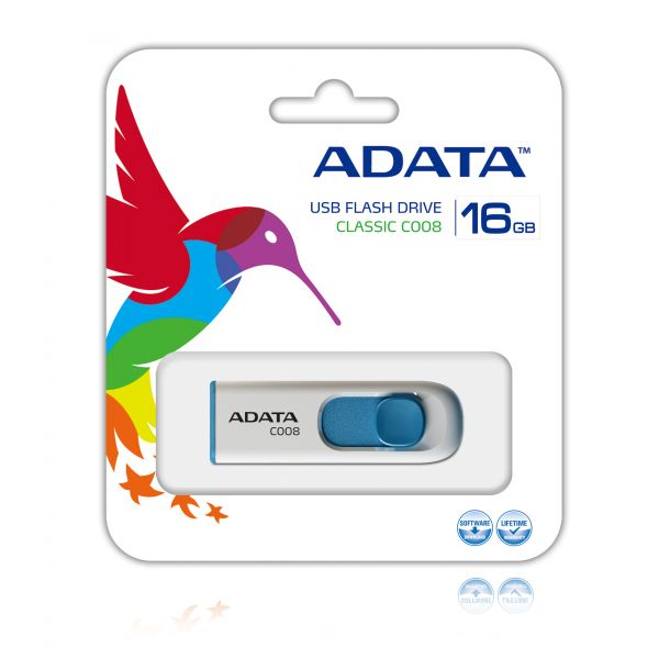 MEMORIA FLASH USB ADATA C008 16GB RETRACTIL BLANCO&AZUL AC008-16G-RWE