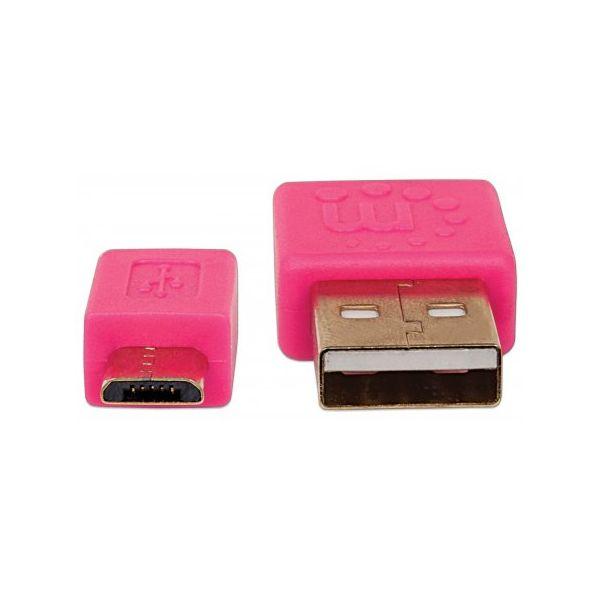 CABLE MICRO USB MANHATTAN PLANO 1.0M ROSA/VERDE 391443