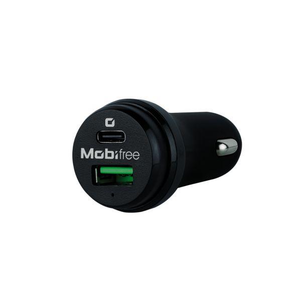 CARGADOR DE AUTO MOBIFREE USB A Y USB TIPO C NEGRO MB-923330