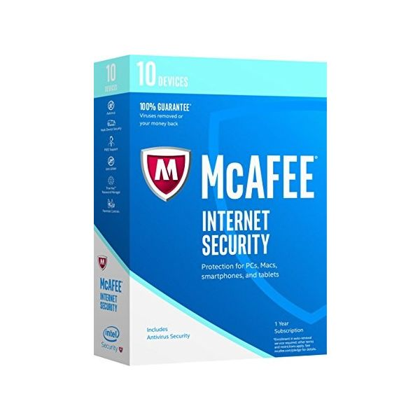 ANTIVIRUS MCAFEE INTERNET SECURITY 10 DISPOSITIVOS 1 AÑO