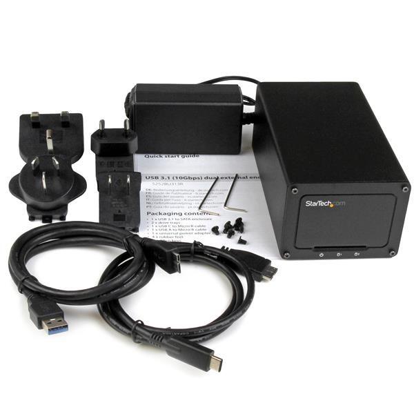 STARTECH GABINETE USB 3.1 DE DOS BAHIAS P. HDD SATAIII 2.5