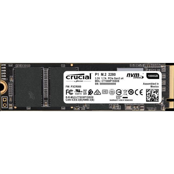 SSD CRUCIAL CT1000P1SSD8 1000 GB PCI EXPRESS 3.0 2000 MB/S 1700 MB/S