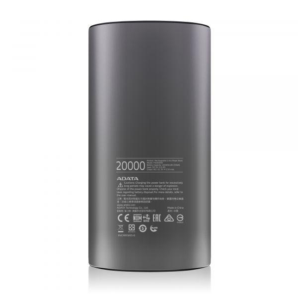 CARGADOR PORTATIL DIGITAL ADATA P20000D, 20,000mAh GRIS