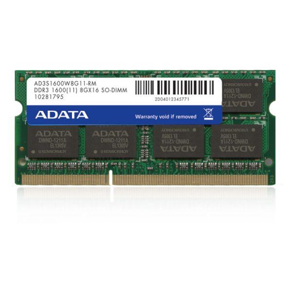 MEMORIA RAM PARA APPLE ADATA 8GB DDR3 1600MHZ SODIMM AD3S1600W8G11-RM
