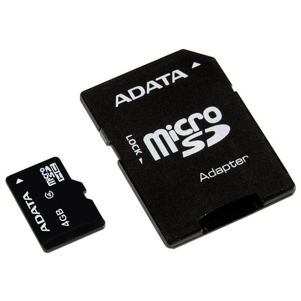 MEMORIA MICRO SDHC ADATA 4 GB C/ADAPTADOR CL4 (AUSDH4GCL4-RA1)