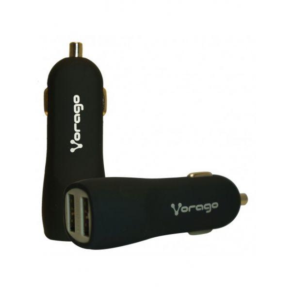CARGADOR PARA AUTO VORAGO AU-103 CON 2 PUERTOS USB NEGRO
