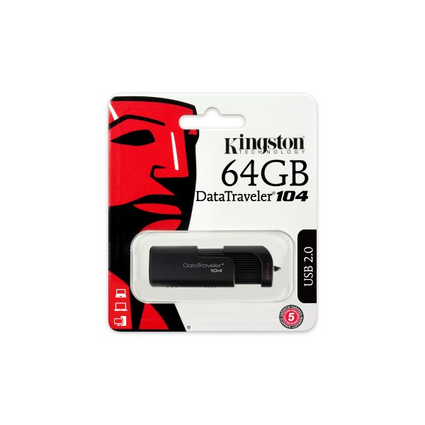 MEMORIA USB FLASH KINGSTON 64 GB USB 2.0 (DT104/64GB)