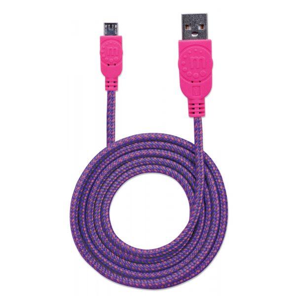 CABLE USB MANHATTAN TEXTIL ROSA/MORADO USB A MICRO USB 1.8M 352741