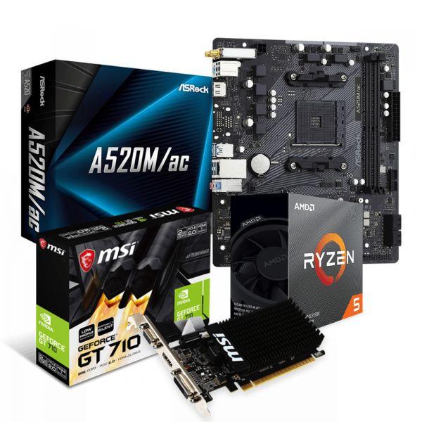 KIT DE PROCESADOR RYZEN 5 3600X + TARJETA MADRE A520 + GPU GT710 MSI