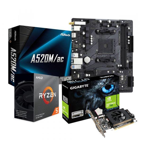 KIT DE PROCESADOR RYZEN 5 3600X + TARJETA MADRE A520 + GPU GT710 GIGA