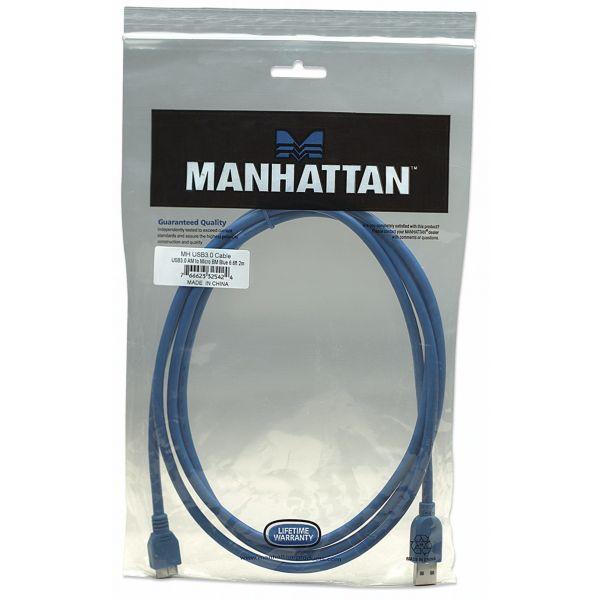 CABLE USB 3.0 A MICRO B MANHATTAN 2MTS AZUL 325424