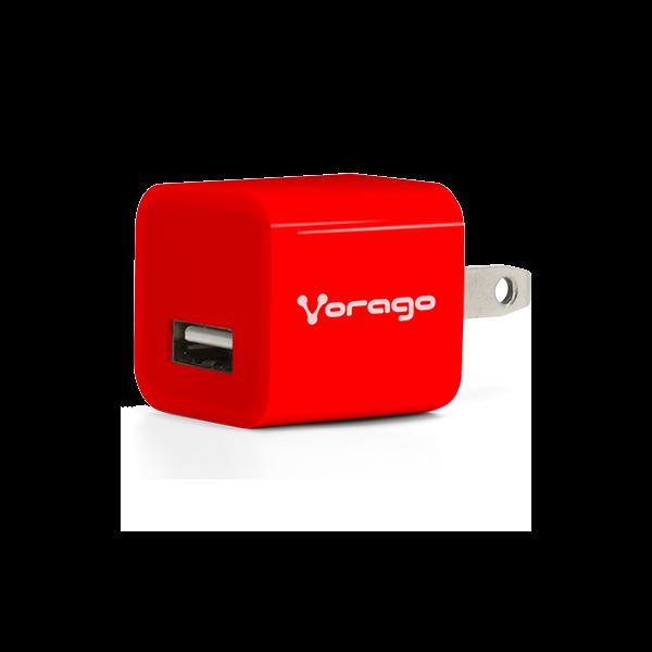 CARGADOR PARA PARED VORAGO AU-106 CON 2 PUERTOS USB ROJO