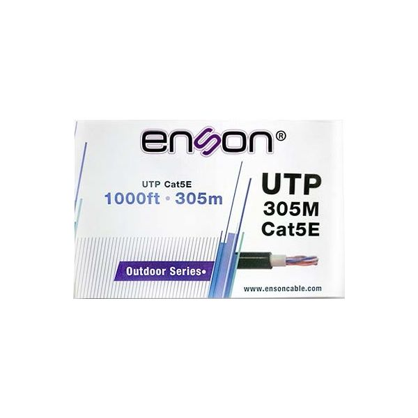 BOBINA DE CABLE UTP ENSON CAT5E EXTERIOR COBRE 305MTS NEGRO 13151B305