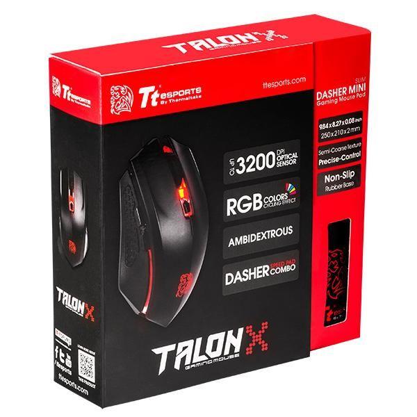 KIT TALON X THERMALTAKE MO-CPC-WDOOBK-01 USB 3200DPI NEGRO/ROJO