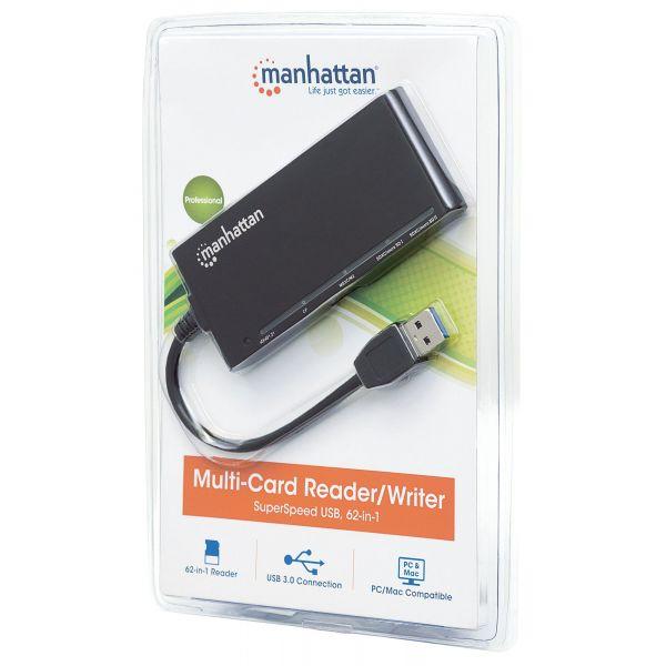 LECTOR Y GRABADOR DE TARJETAS MANHATTAN EXTERNAS 2 EN 1 USB 3.0