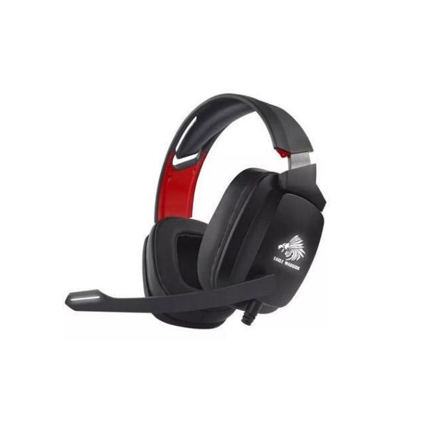DIADEMA GAMER EAGLE WARRIOR CON MICRO DIAMON NEGRO ROJO 3.5MM Y USB