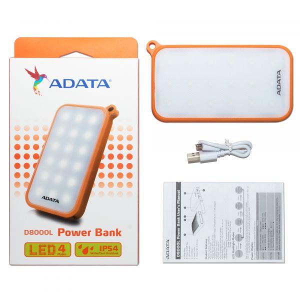 POWER BANK ADATA D8000L NARANJA BCO 8000 MAH 5 V LI-P AD8000L-5V-COR