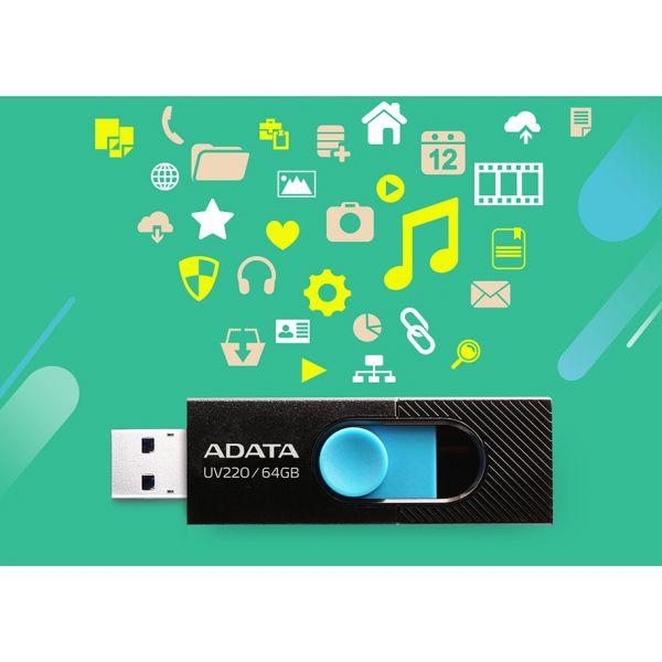 MEMORIA FLASH ADATA UV220 64GB USB2.0 NEGRO/AZUL AUV220-64G-RBKBL