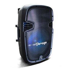 "BOCINA KARAOKE VORAGO KSP-500 15"" RECARGABLE BT/USB/AUX/SD 2MIC TRIPIE"