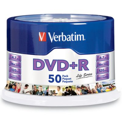 PAQUETE 50 DISCOS VERBATIM DVDR 4.7GB 16X LIFE SERIES SPINDLE VB97174