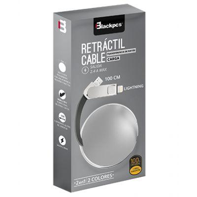 CABLE DUAL MICRO USB/LIGHTNING BLACKPCS RETRACTIL PLATA 1M CASMLPR-3