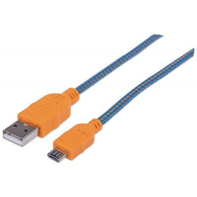CABLE USB MANHATTAN TEXTIL NARANJA/AZUL USB A MICRO USB 1.8M 352727