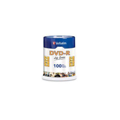 PAQUETE 100 DISCOS VERBATIM LIFE SERIES DVDR 4.7GB 16X SPINDLE VB97177