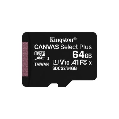 MICRO SD KINGSTON 64GB MICSDXC CANVAS SELECT PLUS SINGLE PACK S/ADAPT