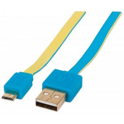 CABLE USB MANHATTAN PLANO AZUL/AMARILLO USB A MICRO USB 2M 391283