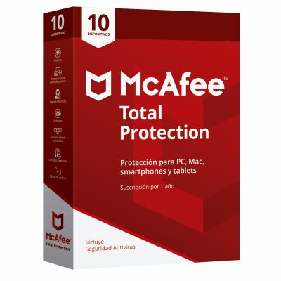 ANTIVIRUS MCAFEE TOTAL PROTECTION 10 DISPOSITIVOS 1 AÑO