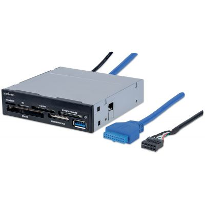 "LECTOR DE TARJETAS MANHATTAN BAHIA INTERNA 3.5"" USB 3.0, 48 EN 1 10196"