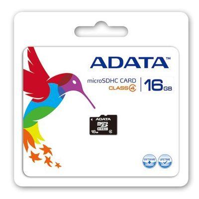 MEMORIA MICRO SDHC ADATA 16 GB CON ADAPTADOR CL4 (AUSDH16GCL4-RA1)