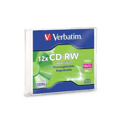 DISCO COMPACTO VERBATIM 95161 RW 12X 80 MIN 700MB CAJA SLIM 1 PZA