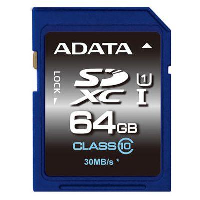 MEMORIA SD ADATA PREMIER SDXC CLASE 10 - 64 GB, AZUL