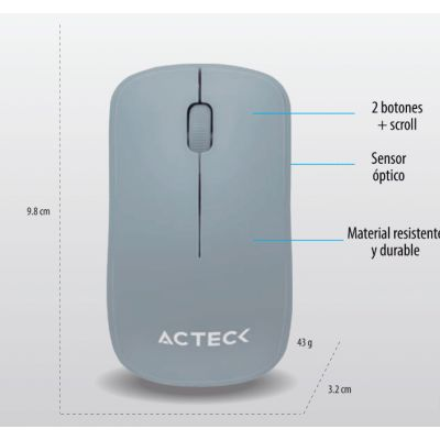 MOUSE ACTECK ENTRY GRIS 3 BOTONES + SCROLL INALAMBRICO 1000 DPI