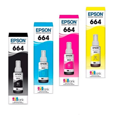 KIT BOTELLAS DE TINTA EPSON T664 4 COLORES KCMY